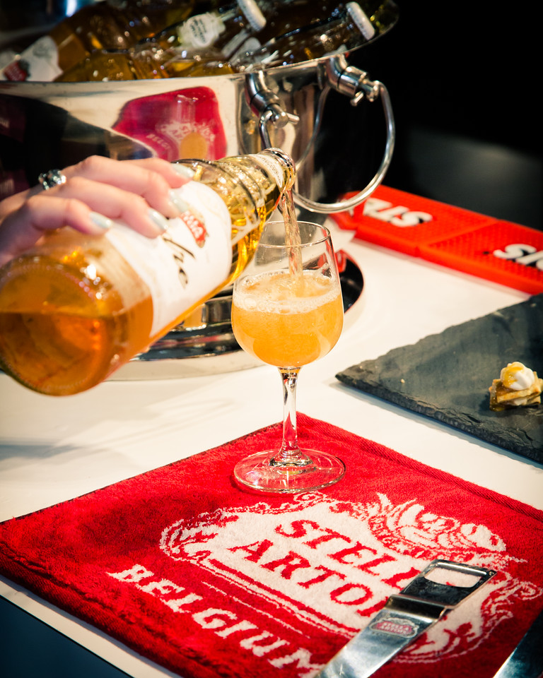 The Cidre has less carbonation so it is poured flat on the table.  We want some foam here as well to get the full sensory experience.