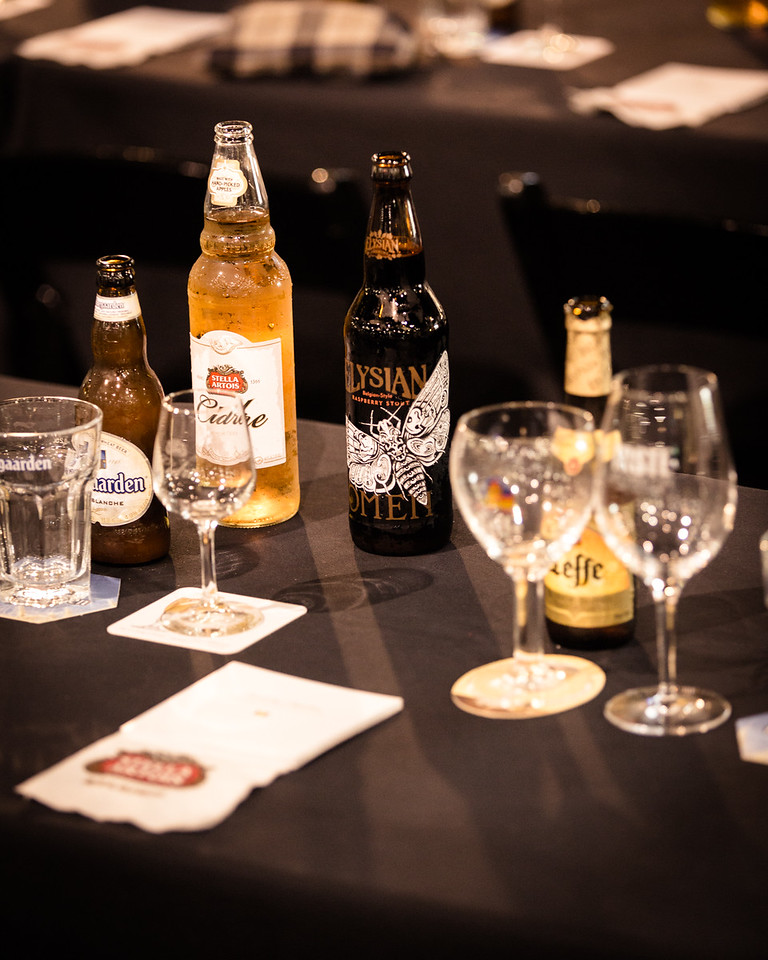 Pairings are with Hoegaarden, Stella Artois Cidre, Leffe Blonde and Elysian Raspberry Stout.