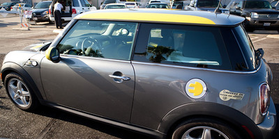 The Air Quality Management District folks were on hand and brought this all electric Mini Cooper by AC Propulsion