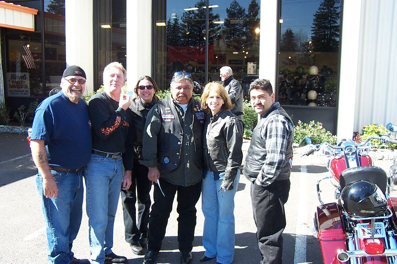 Tim, Dave, Sandy, Phil & Terry, Jose at Michael's HD before the Tattoos & Blues Event