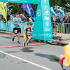 TAURANGA NEW ZEALAND - SEPTEMBER 22 2018;  Finishing in Kids Dash of Tauranga International Marathon images around finish line at first running of event. @TaurangaInternationalMarathon