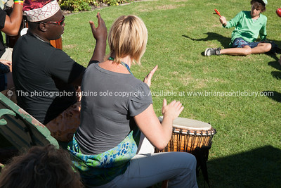 Tauranga National Jazz Festival, African drummer leads members of crowd drumming ALSO SEE; http://www.blurb.com/b/3811392-tauranga