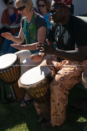 Tauranga National Jazz Festival, African drummer leads members of crowd drumming. ALSO SEE; http://www.blurb.com/b/3811392-tauranga