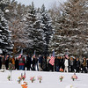 Record-Eagle/Jan-Michael Stump<br /> Mourners arrive at the funeral of United States Air Force Tech Sgt. Matthew Schwartz Saturday at Grand Traverse Memorial Gardens. Schwartz, 34, of Traverse City died in Afghanistan January 5, 2012, when his vehicle was struck by a improvised explosive device.