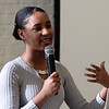 Lowell Community Health Center Teen BLOCK's RevoYOUTHtion youth conference. Keynote speaker Vikiana Petit-Homme, organizer with the March For Our Lives Boston chapter. (SUN/Julia Malakie)