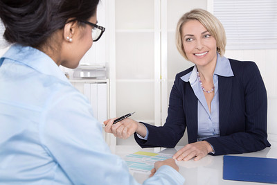 //www.dreamstime.com/stock-photography-senior-business-woman-interview-trainee-application-meeting-two-women-talking-together-office-image38109452