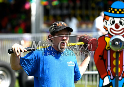 8/26/2017 Mike Orazzi | Staff Carnival worker Jason Donahue during the Terryville Lions County Fair Saturday morning.