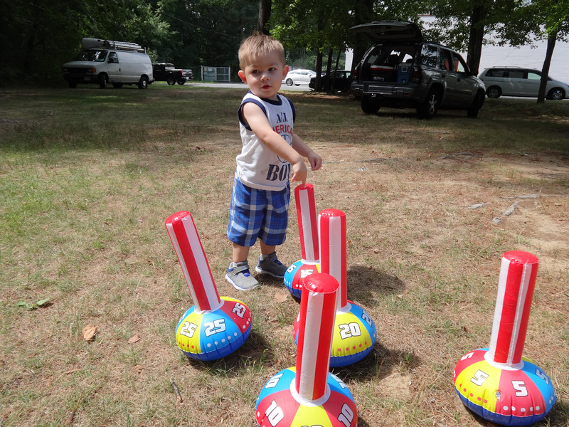Carter Gray has the ring toss stands all to himself at the Tewksbury-Wilmington and Woburn Elks Clubs combined Family Day picnic. Photo by Mary Leach