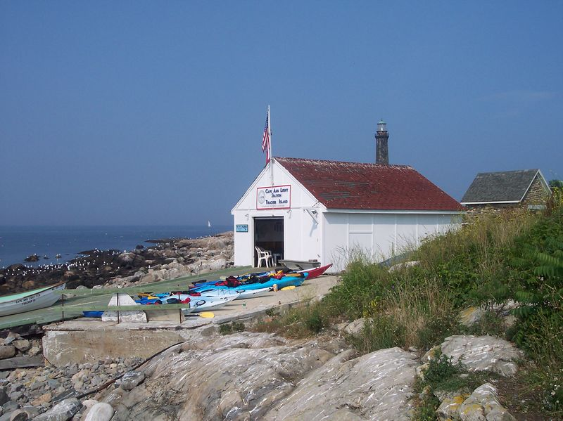 Thacher Island Boat House entry onto the island.