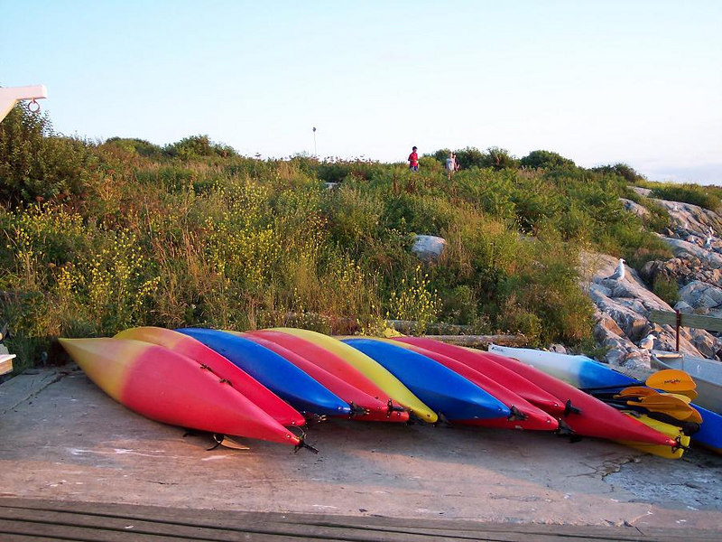 Kayaks bedded for the night.