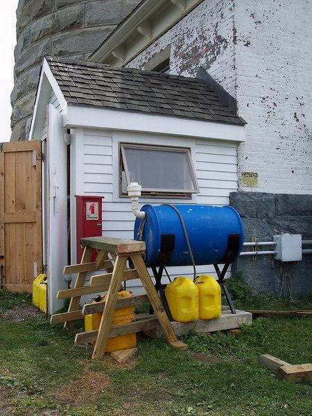 Diesel generator house by South Tower.