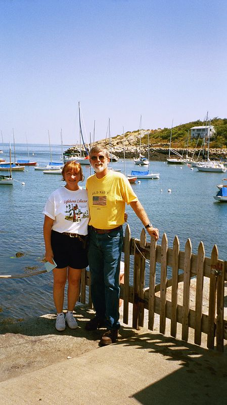 Darlene and John in Rockport harbor.  We were walking through the town and stopped at the kyak rental store.  Just behind us is a 20-30 foot drop to the sea and there are lots of kyaks sitting in the water.  You can see the hill in the distance where we walked to earlier in the day and Darlene took a picture looking back towards the harbor.