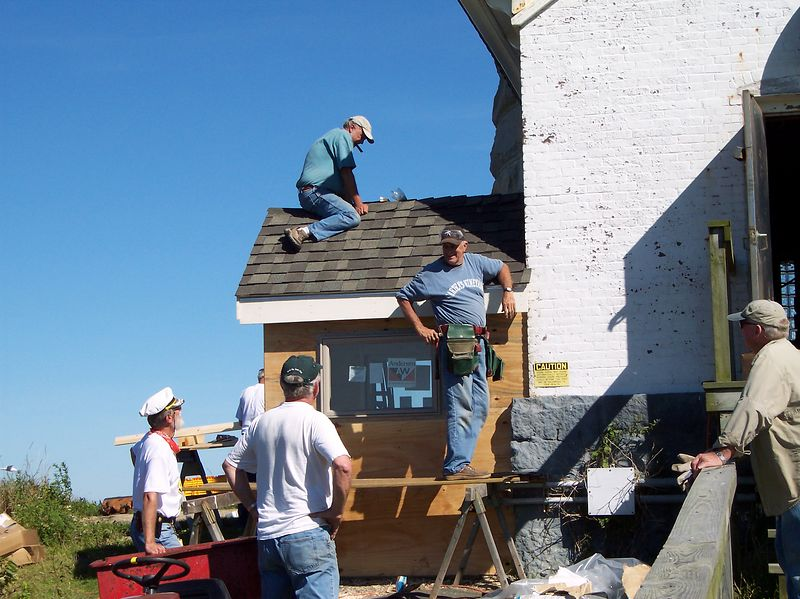 "Work Crew making headway on generation house, fondly named ""Our Lady of the Light Cathedral""."