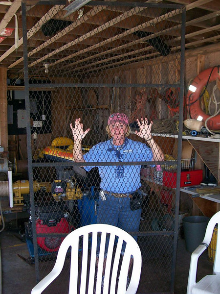 """""""Winch woman"""" finally caged in the Boat House."""