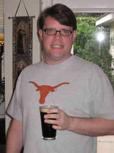 Andy Thompson and his Guinness. Can anybody guess which college Andy graduated from?