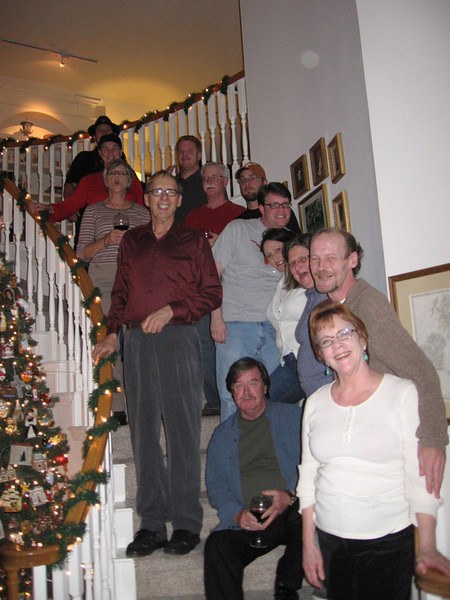 Everybody posed on the staircase.