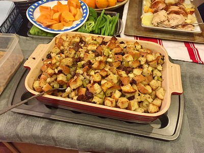Sausage and bread stuffing.