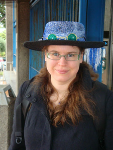 Susanne decked out for the Dickens Fair