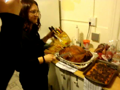 Turducken cutting