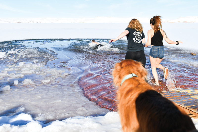 Matthew Gaston | The Sheridan Press<br>Daniel Viellieux dives into Lake DeSmet followed by, from left, Jamie Stradley and Sophia Acosta for the Polar Bear Plunge Tuesday, Jan. 1, 2019.