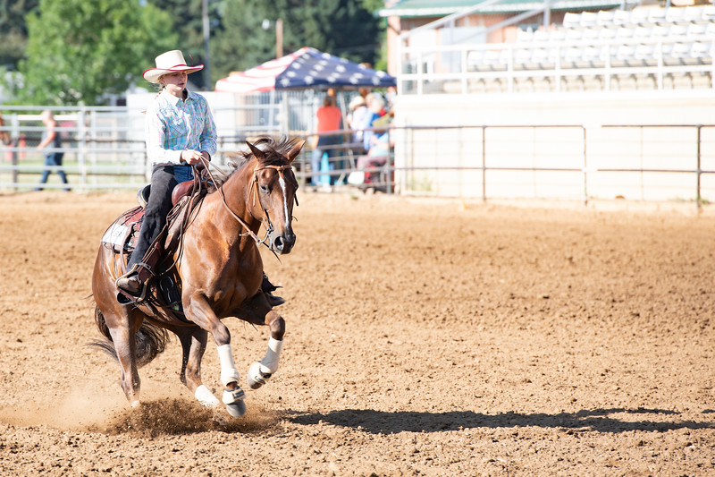 Matthew Gaston | The Sheridan Press<br>To Chic King 01 slides to stop at his rider, Mackenzie Wood's command to fullfill one of several criteria during the Working Cow Horse event at the 2019 Sheridan County Fair Wednesday, July 31, 2019.