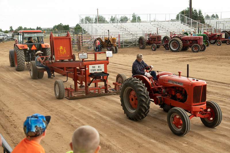 Matthew Gaston | The Sheridan Press<br>Slick Mueller wins the Class 3 tractor pull with his 1948 Alice tractor at the Sheridan County Fair Saturday, Aug. 3, 2019.