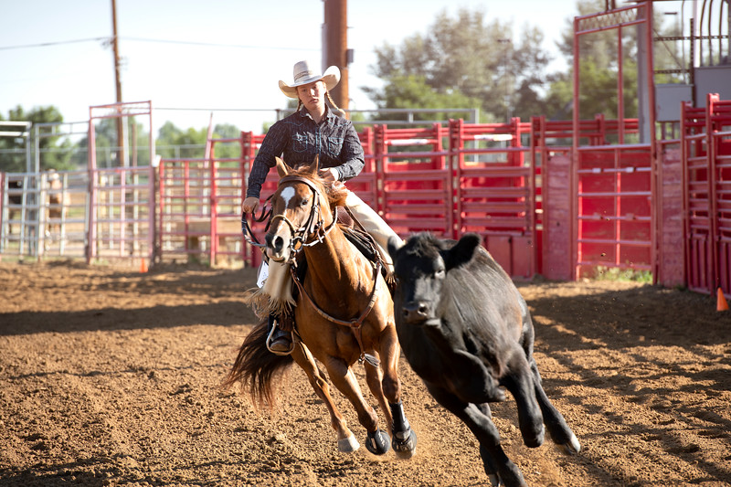Matthew Gaston | The Sheridan Press<br>Sierra Powers and Miss Kitty were the first to compete in the Senior Working Cow Horse event on day two of the 2019 Sheridan County Fair Wednesday, July 31, 2019.