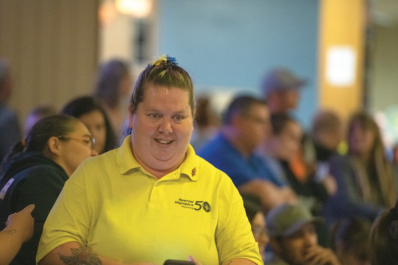 Matthew Gaston | The Sheridan Press<br>Jeannie Ellinger, former athlete and current coach, makes her way from lane to lane to check on her athletes during the bowling tournament for the 2019 Special Olympics Area IV Fall Games Friday, Sept. 27, 2019.