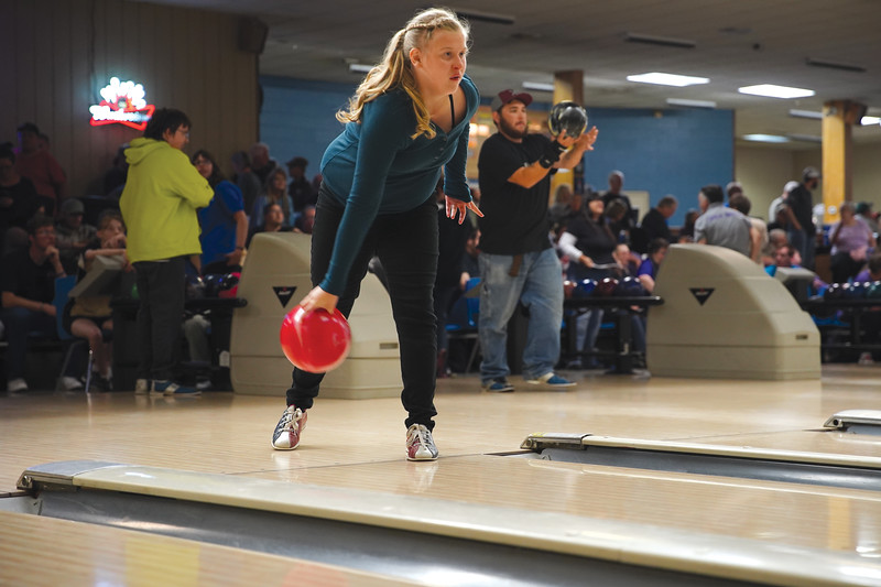 Matthew Gaston | The Sheridan Press<br>Abrianna Salveson, 13, bowls for the Sheridan team at Cloud Peak Lanes during the 2019 Special Olympics Area IV Fall Games Friday, Sept. 27, 2019.