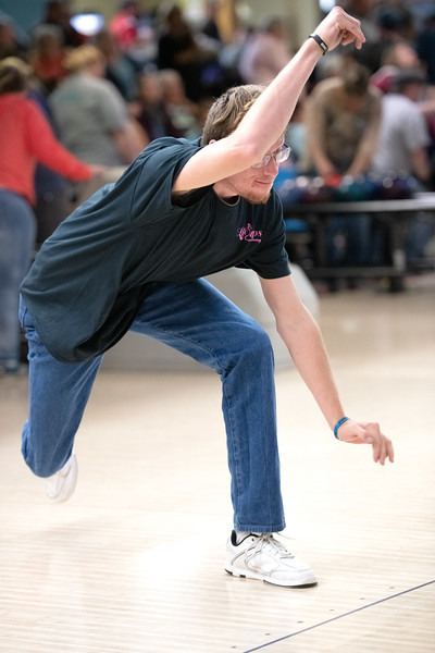 Matthew Gaston | The Sheridan Press<br>Matthew Elkins-Graham hurls a ball down the lane to pick up a spare at Cloud Peak Lanes during the 2019 Special Olympics Area IV Fall Games Friday, Sept. 27, 2019.