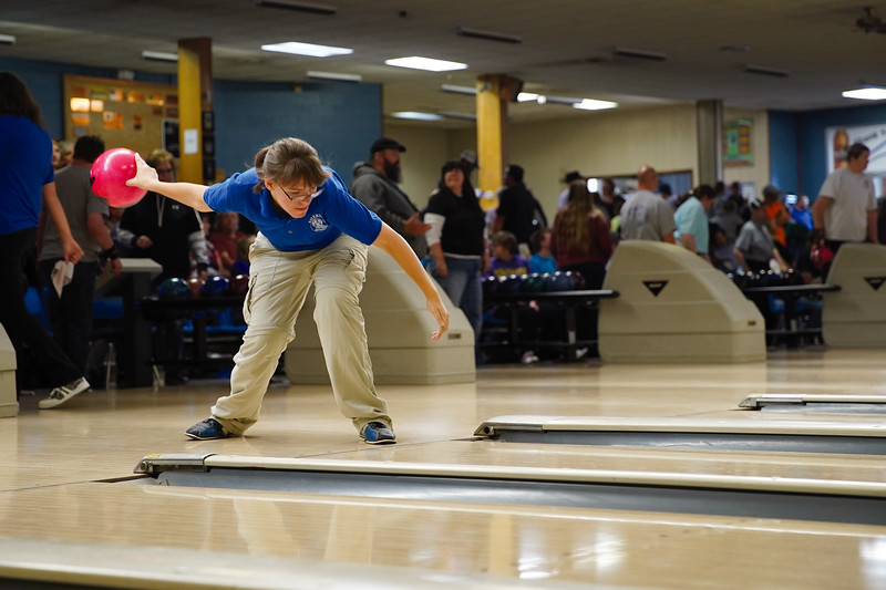 Matthew Gaston | The Sheridan Press<br>Sheridan's Kimi Allen bowls during the 2019 Special Olympics Area IV Fall Games at Cloud Peak Lanes Friday, Sept. 27, 2019.