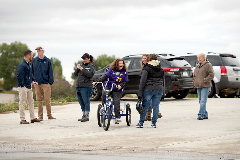 Matthew Gaston | The Sheridan Press<br>Gracie Webb (27) warms up before the 500-meter cycling race on the Aero-loop for the 2019 Special Olympics Area IV Fall Games Friday, Sept. 27, 2019.