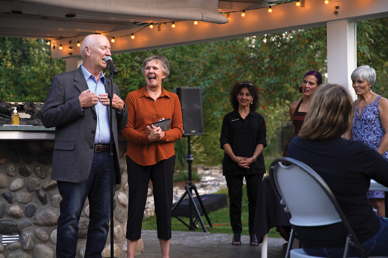 Matthew Gaston | The Sheridan Press <br /> Lotus Award reciepents Scott Davis and Mary Ludemann share humorous anecdotes about their experiences at the WYO Performing Arts and Education Center during their acceptance speech Thursday, Sept. 24, 2020.