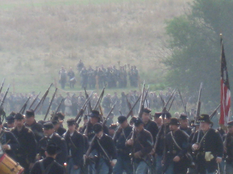 From the Union Side. The 26th NC Band in the distance