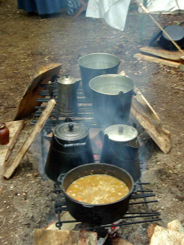 Our Cooking Fire-Coffee and stew