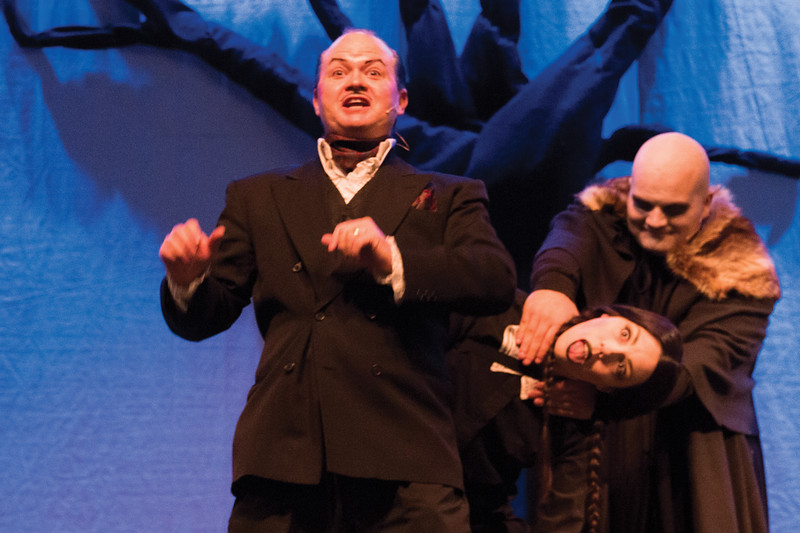 Matthew Gaston | The Sheridan Press<br>From left, Scott Bateman, Stefanie Wilkerson and Cody Heaps as Gomez, Wednesday and Uncle Fester Addams respectively Thursday, Oct. 18, 2018.