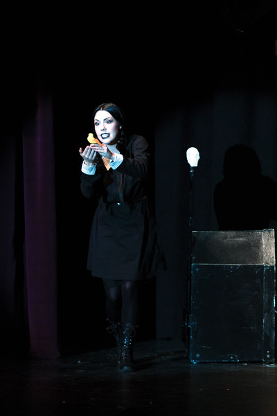 Matthew Gaston | The Sheridan Press<br>Stefanie Wilkerson brings Wednesday Addams to life at the WYO Theater Thursday, Oct. 18, 2018.