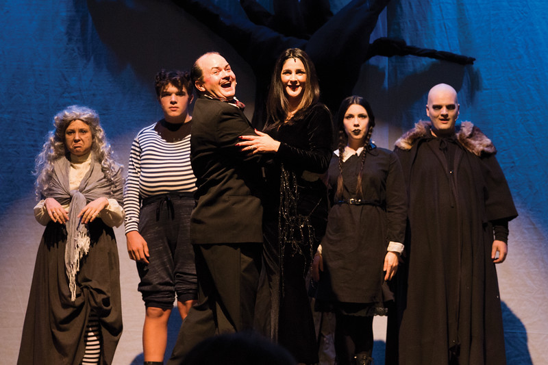 "Matthew Gaston | The Sheridan Press<br>""The Addams Family"" debuts Saturday evening at the WYO Theater starring from left, Kelsey Sissons, Zach Allen, Scott Bateman, Gina Feliccia McDermott, Stefanie Wilkerson and Cody Heaps. Thursday, Oct. 18, 2018."