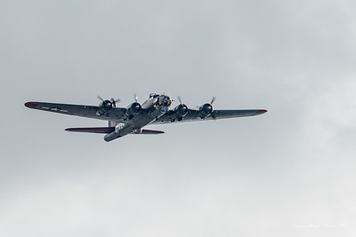 These shots were made from my driveway as the B-17 did a near perfectly positioned fly-by. I tried a compromise shutter speed between image sharpness and getting some prop rotation movement.