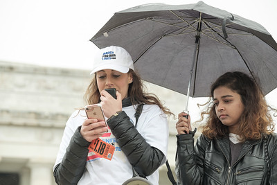 Eve Levenson, Director and State Liaison, for March For Our Lives D.C. addresses the crowd, along with Shaheera Jalil-Albasit, cousin of Sabika Sheik, who was a Pakistani exchange student killed in the Santa Fe school shooting.  Shaheera is a founding member of March For Our Lives D.C.