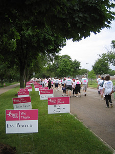 They had these lawn signs thanking various teams and sponsors, along with showing support for survivors.  They carried on for half a mile, very moving finale to the race.