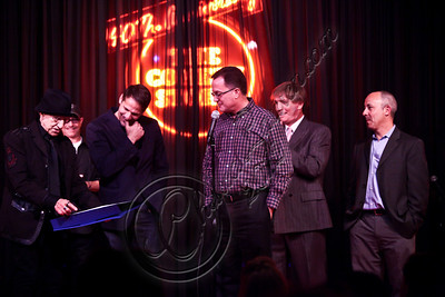 WEST HOLLYWOOD, CA - APRIL 21:  (L-R) Comedian / Comedy Store co-founder Sammy Shore, West Hollywood councilman John D'Amico, West Hollywood Mayor Jeff Prang, comedian Argus Hamilton and Comedy Store CEO Peter Shore attend The Comedy Store's 40th anniversary celebration at The Comedy Store on April 21, 2012 in West Hollywood, California.  (Photo by Chelsea Lauren/WireImage)