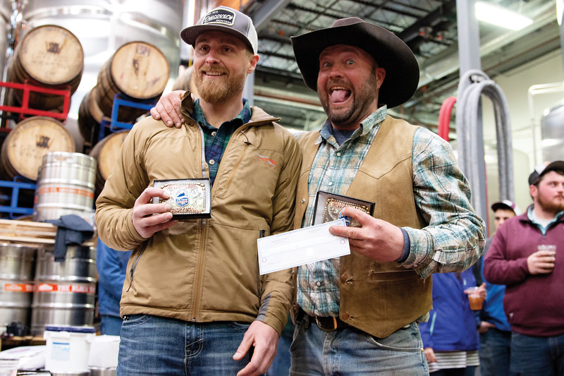 Matthew Gaston | The Sheridan Press<br>From left, skier Cody VanOrden and rider Cal Douglas took first place in the novice class at the first-ever Sheridan WYO Winter Rodeo Saturday, Feb. 23, 2019.