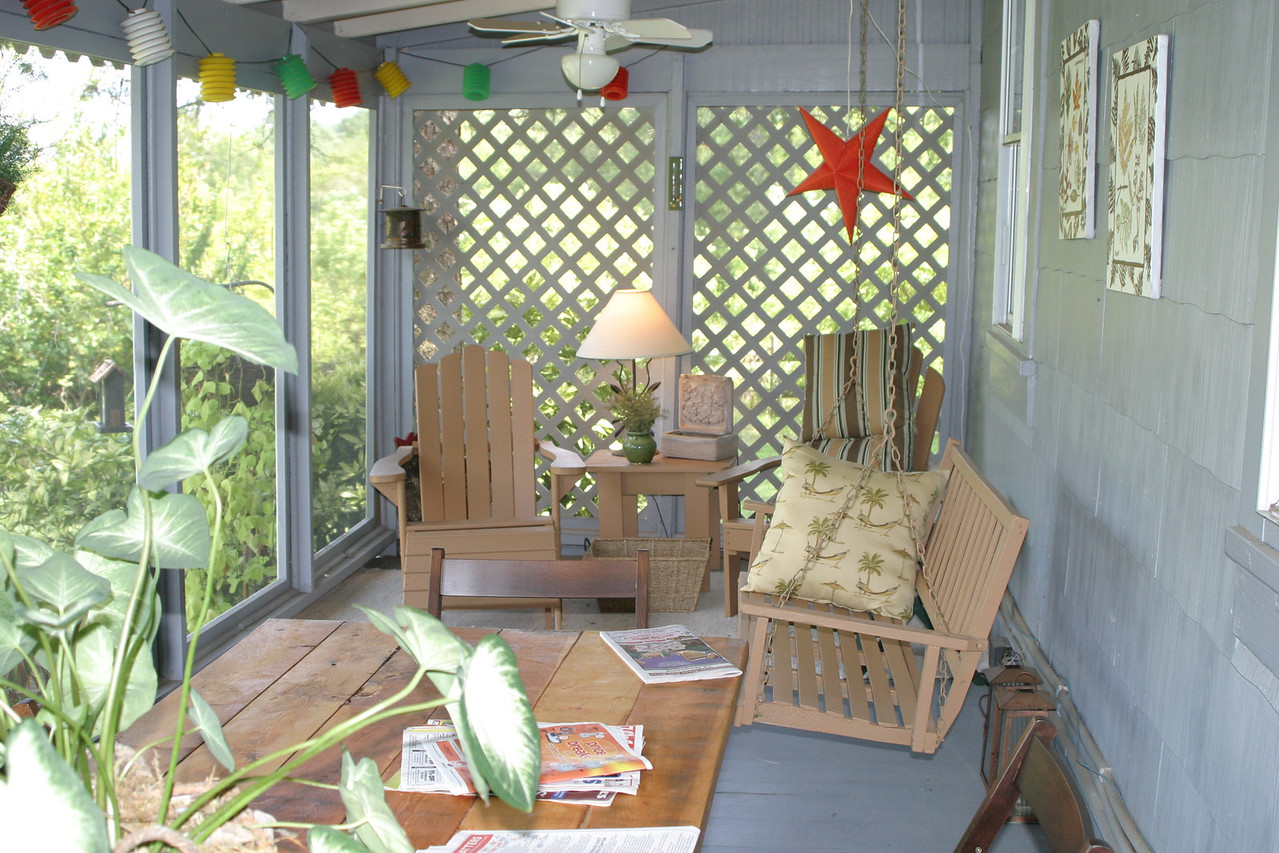 """the old porch 2005? Cathy"""" leaf painting are my only good time frame?"""
