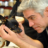 "Actor R. Ward Duffy has a face to face with Laika the dog during a fitting.<br /> The Denver Center Theatre will be presenting  the play, ""When Tang Met Laika,"" with Terrence Nolan directing, and Jessica Love and Ian Merrill Peakes playing lead roles.<br /> For more photos of the rehearsal, go to photo galleries at  <a href=""http://www.dailycamera.com"">http://www.dailycamera.com</a>.<br /> Cliff Grassmick / January  8, 2010"