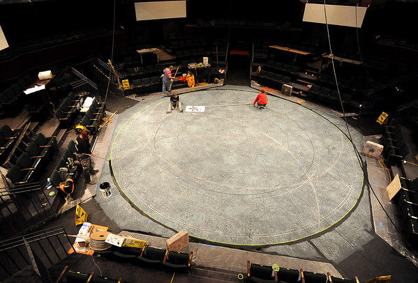 """Workers work on the set of When Tang Met Laika on Friday.<br /> The Denver Center Theatre will be presenting  the play, """"When Tang Met Laika,"""" with Terrence Nolan directing, and Jessica Love and Ian Merrill Peakes playing lead roles.<br /> For more photos of the rehearsal, go to photo galleries at  <a href=""""http://www.dailycamera.com"""">http://www.dailycamera.com</a>.<br /> Cliff Grassmick / January  8, 2010"""