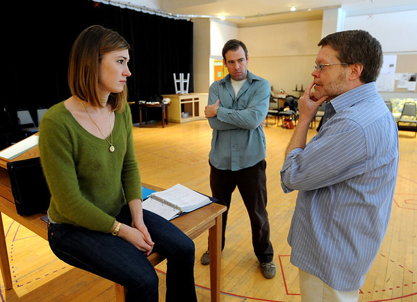 """Actor Jessica Love, left, Director Terrence Nolan, and actor, Ian Merrill Peakes, talk about the play during a weekday rehearsal.<br /> The Denver Center Theatre will be presenting  the play, """"When Tang Met Laika,"""" with Terrence Nolan directing, and Jessica Love and Ian Merrill Peakes playing lead roles.<br /> For more photos of the rehearsal, go to photo galleries at  <a href=""""http://www.dailycamera.com"""">http://www.dailycamera.com</a>.<br /> Cliff Grassmick / January  8, 2010"""