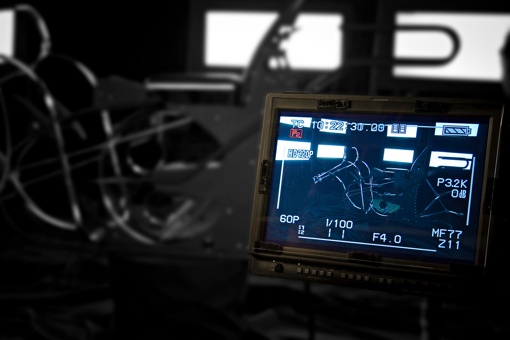 This is how the first shot looks on the video monitor. Evelyn will walk into frame and start delivering her lines.