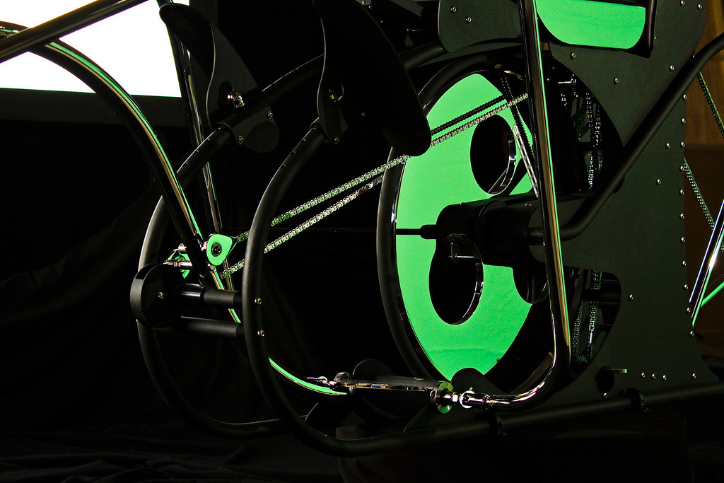 While the video camera was being repositioned, I grabbed some close ups of the ROM Machine. The large chrome flywheel is reflecting the huge green screen backdrop and I thought it looked pretty cool.