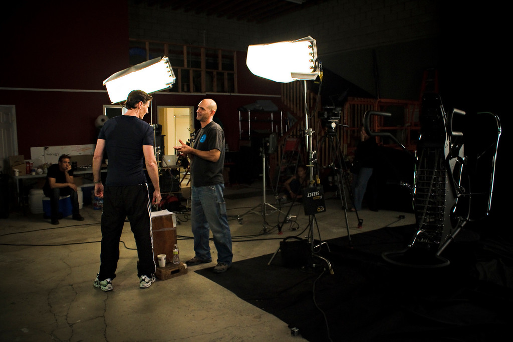 Reverse angle of the set as Ken and Richard talk about the next shot.